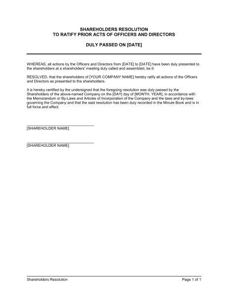 Shareholders Resolution - Template & Sample Form | Biztree.com