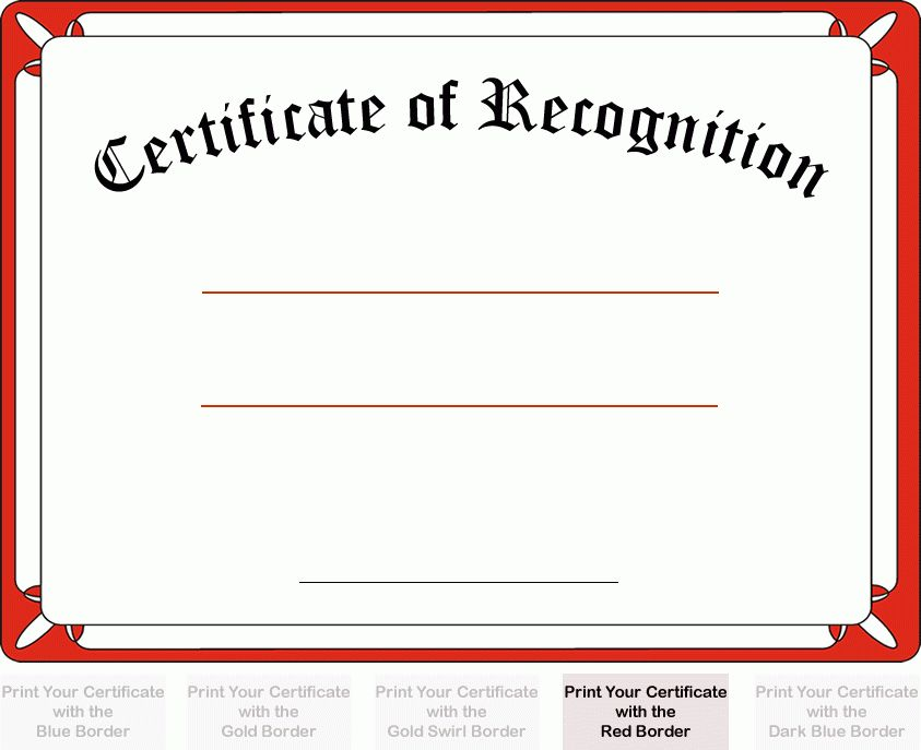 Certificate of Recognition with red border. Add your custom ...