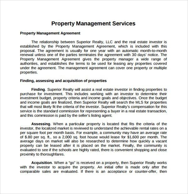 Sample Property Management Proposal Template - 9+ Free Documents ...
