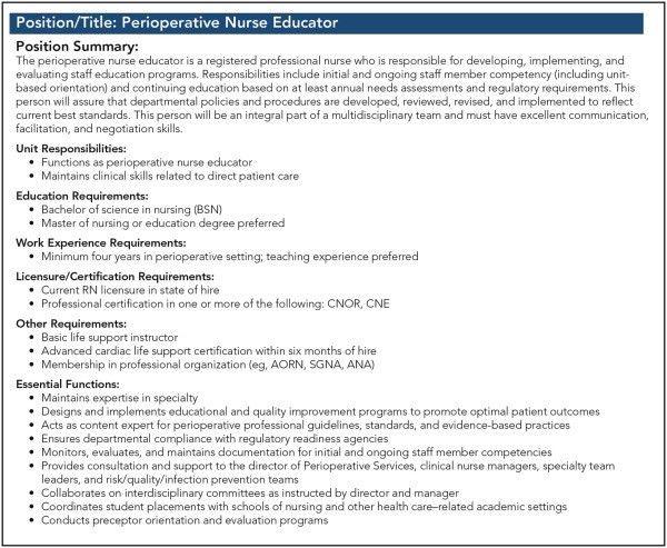 Transitioning From Perioperative Staff Nurse to Perioperative ...