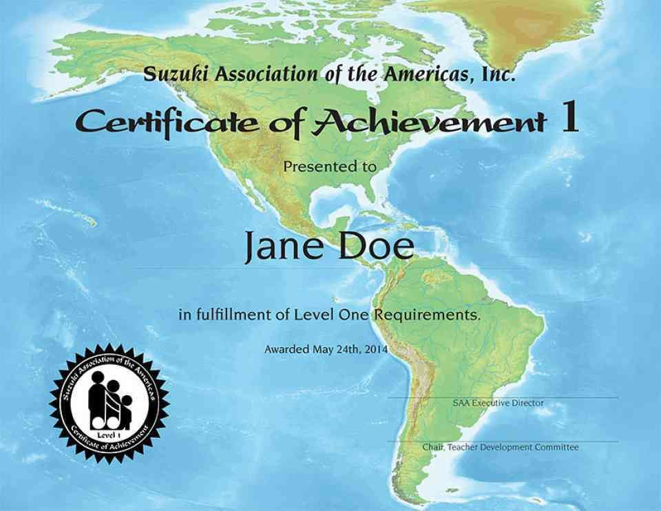 Certificate of Achievement Level 1 | Suzuki Association of the ...