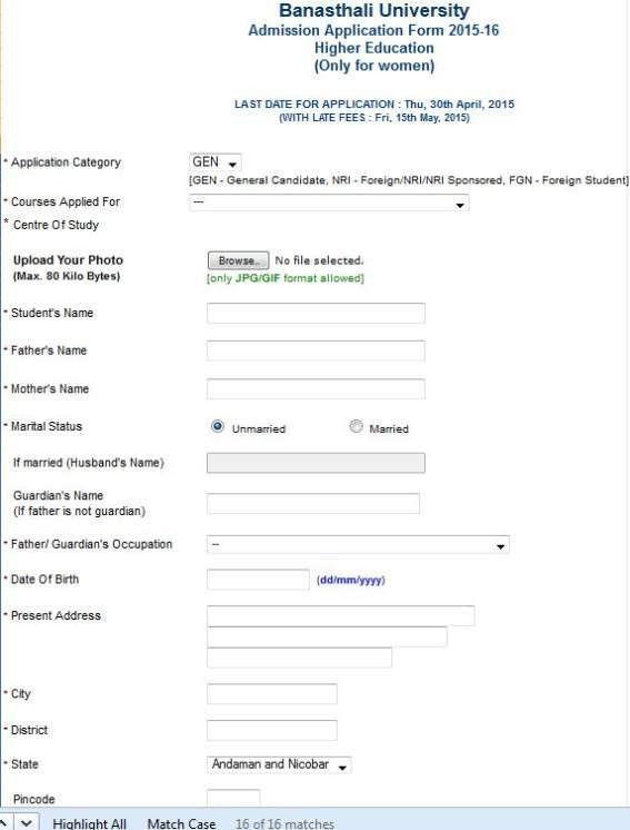Online Admission Form for Banasthali University - 2017 2018 ...