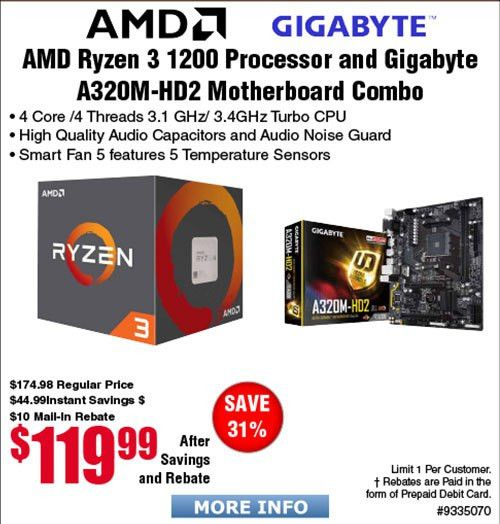 AMD Ryzen 3 1200 4-Core Processor and Gigabyte AB320M-HD2 ...