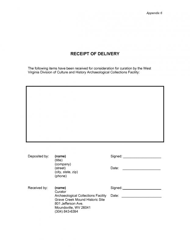 Proof Of Receipt Form   Template Examples  Proof Of Receipt Form