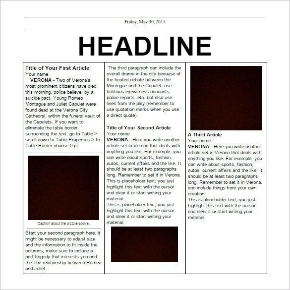 Newspaper Templates - Business Plan Template