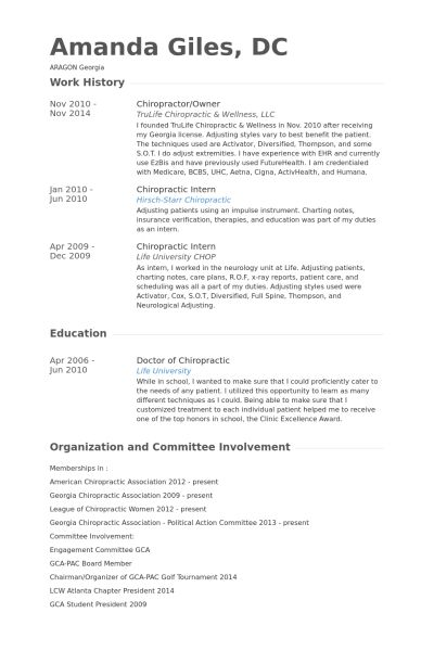 Chiropractor Resume samples - VisualCV resume samples database