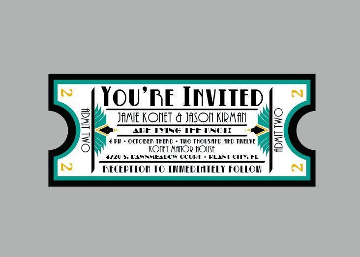 Vintage - 1920s Antique Art Deco Movie Ticket Wedding Invitation ...