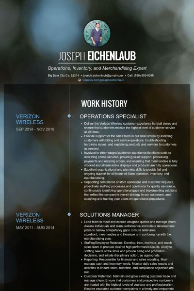 Operations Specialist Resume samples - VisualCV resume samples ...