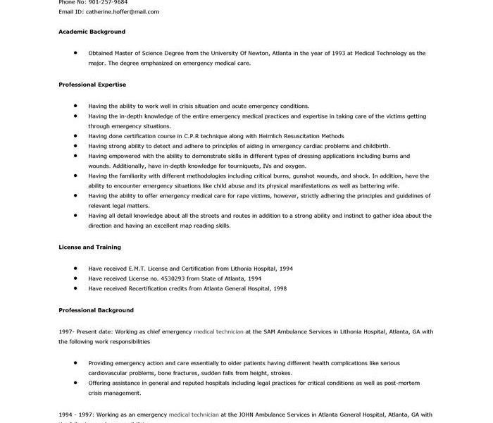 Emt Resume] Sample Emt Resume Sample Emt Resume Download Emt Resume ...