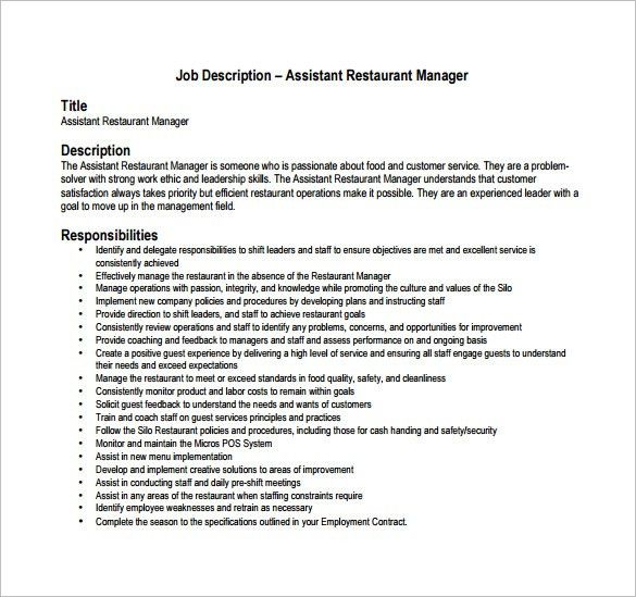 Restaurant Manager Job Description Template – 8+ Free Word, PDF ...