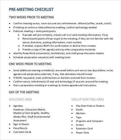 Meeting Checklist Templates - 9+ Free Word, PDF Documents Download ...