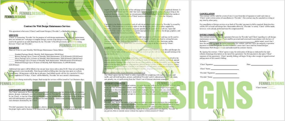 Contracts written by Fenel Designs - Fennel Designs
