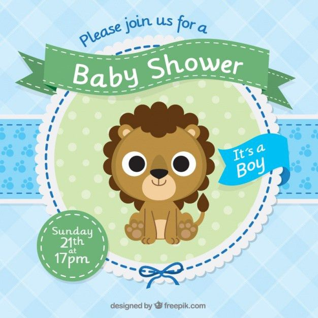 Baby shower invitation template with a cute lion Vector | Free ...