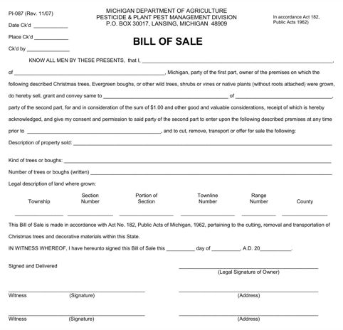 Michigan Bill of Sale Form for Excel, PDF and Word