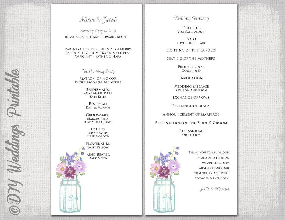 Wedding program template Mason Jar wedding program