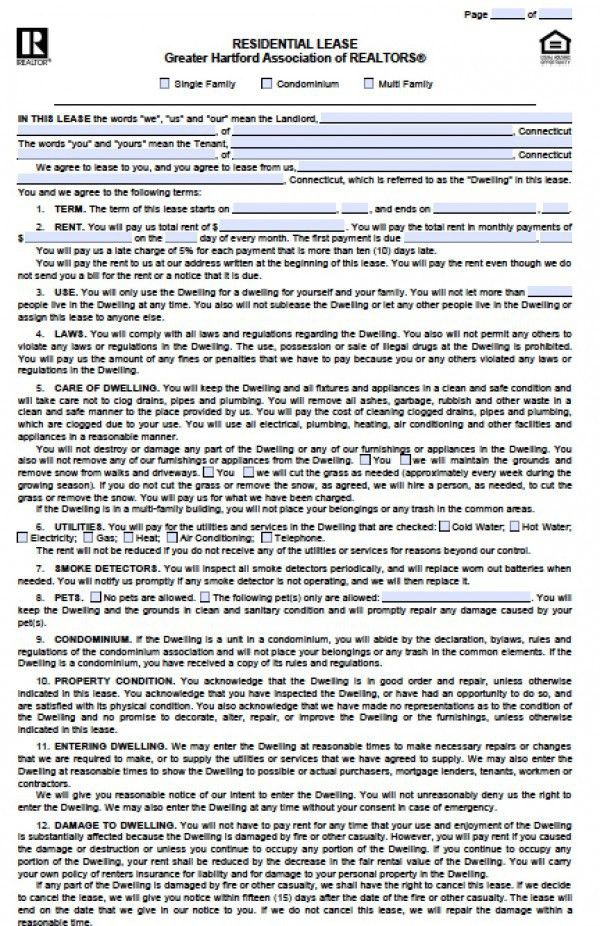 Free Connecticut Residential Lease Agreement | PDF | Word (.doc)