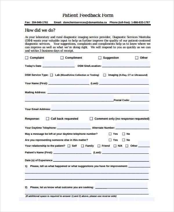 High Quality Sample Patient Feedback Form   9+ Free Documents Download In Word, PDF