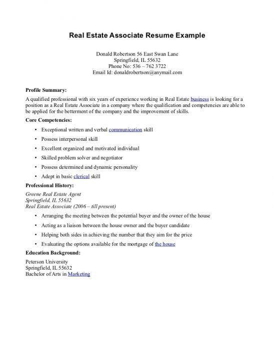 real estate resume sample