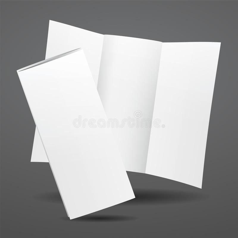 Blank Vector White Tri Fold Brochure Template. Stock Vector ...