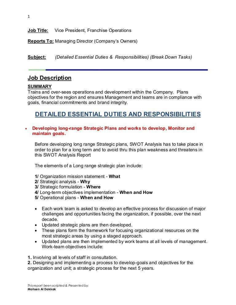 Vice President, Franchise Operations Detailed Job Descriptions
