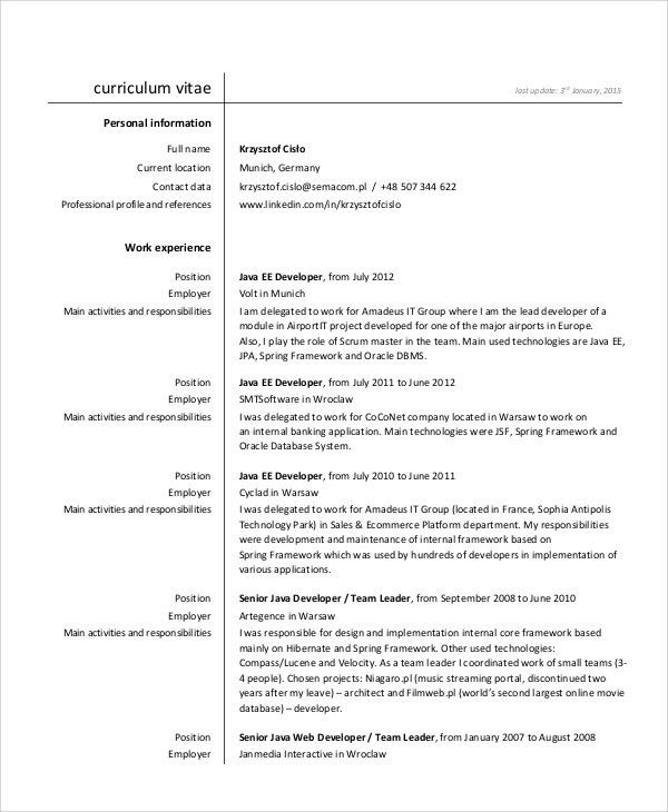java developer resume sample. vibrant inspiration hadoop developer ...