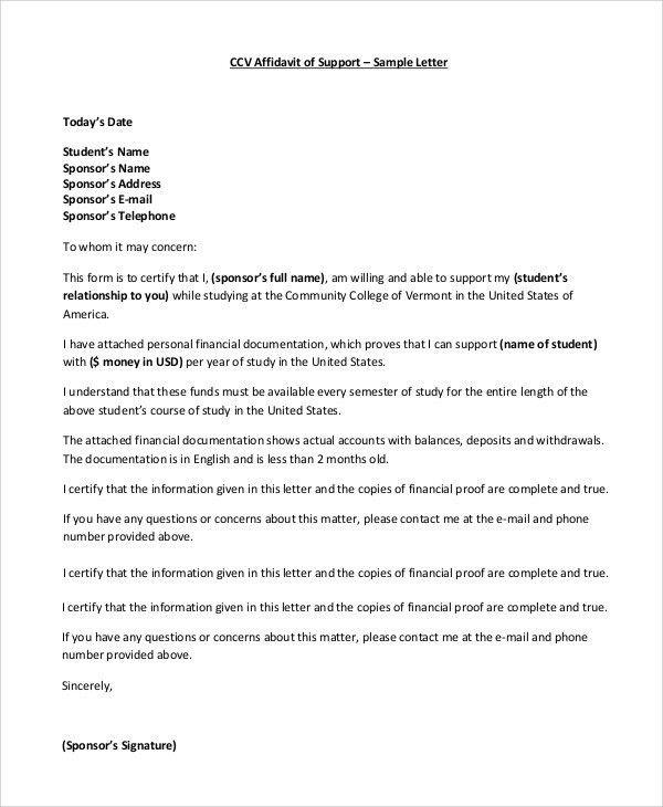 Affidavit Of Support Letter Sample | The Best Letter Sample