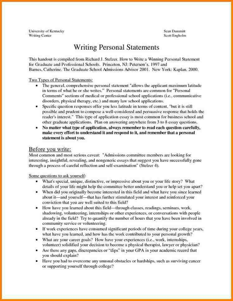 personal statement essay examples for graduate school