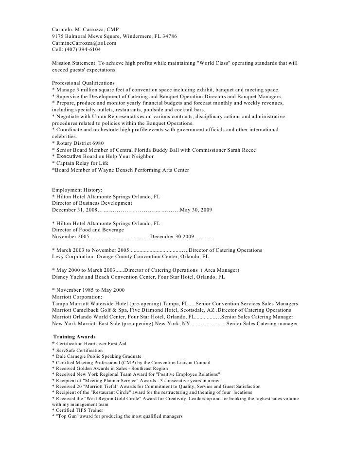 banquet captain resume banquet server job description example