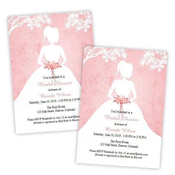 Bride Silhouette Bridal Shower Invitation Template – A.J.'s Prints