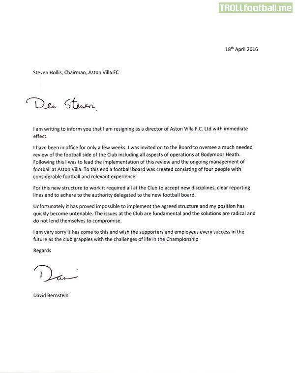 AVFC - The leaked resignation letters of board members Bernstein ...