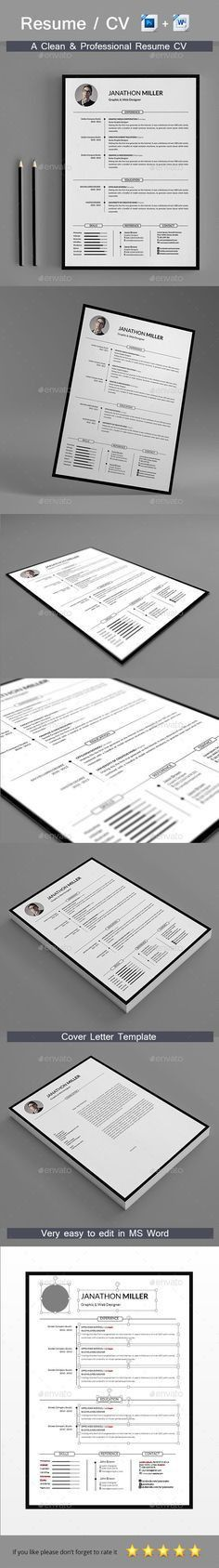 Creative Clearn Professional Resume Template … | Pinteres…
