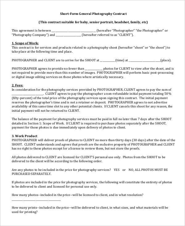Photography Contract Example -11+ Free Word, PDF Documents ...