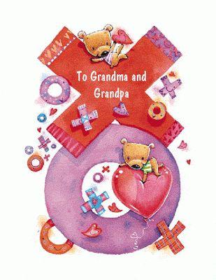 "Love for Grandmaand Grandpa"" | Anniversary Printable Card | Blue ..."