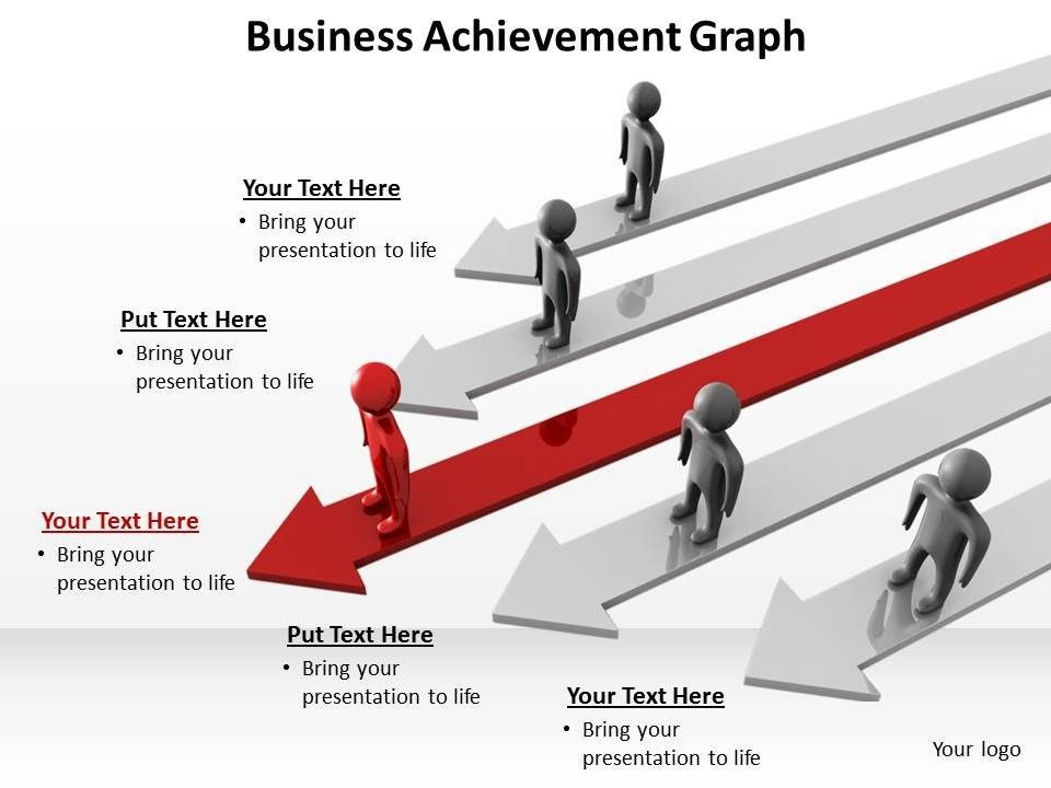 business achievement with arrows and men standing graph powerpoint ...