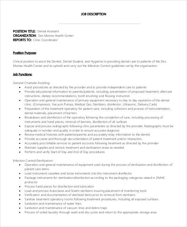 Sample Dental Assistant Job Description   8+ Examples In PDF, Word