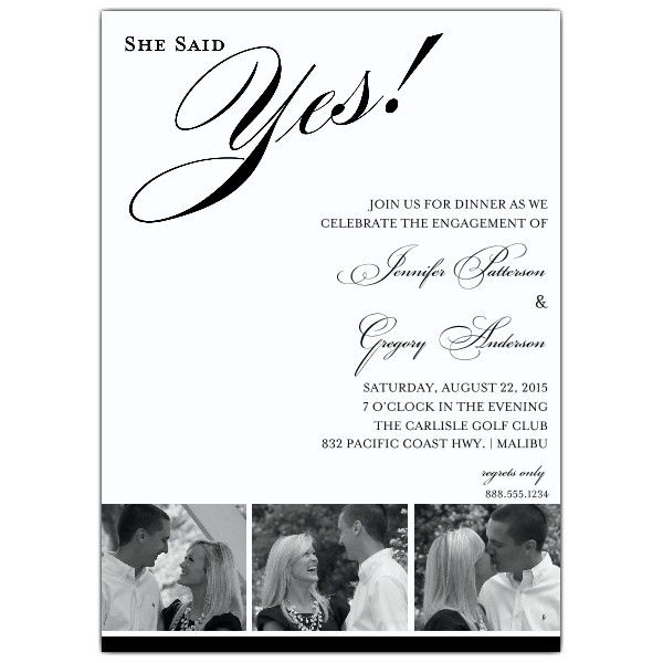 She Said Yes Photo Engagement Party Invitations | PaperStyle