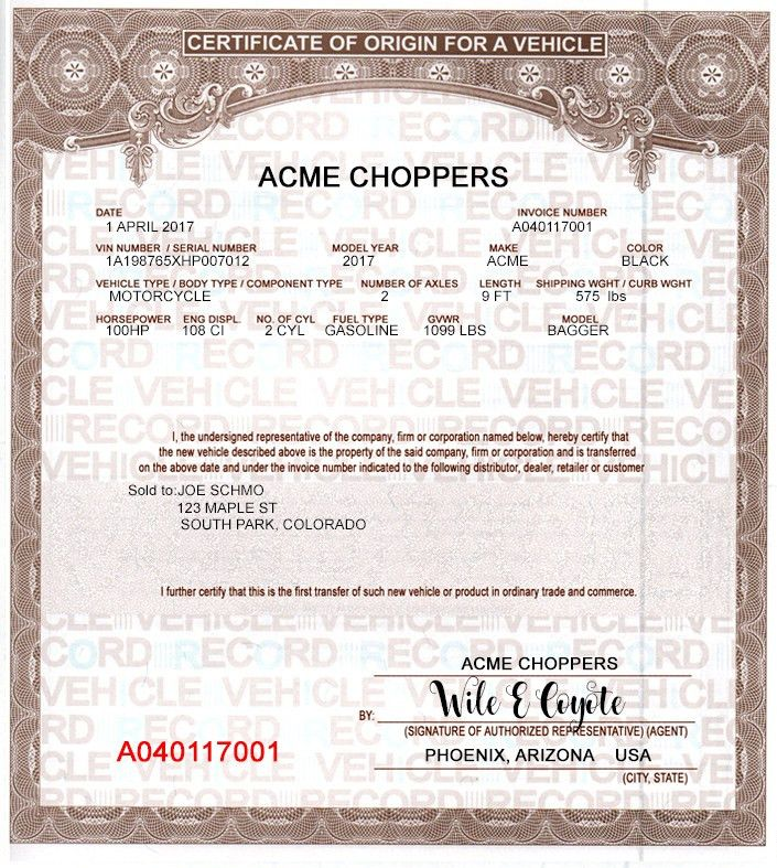 Buy MCO MSO Manufactures Certificates of Origin