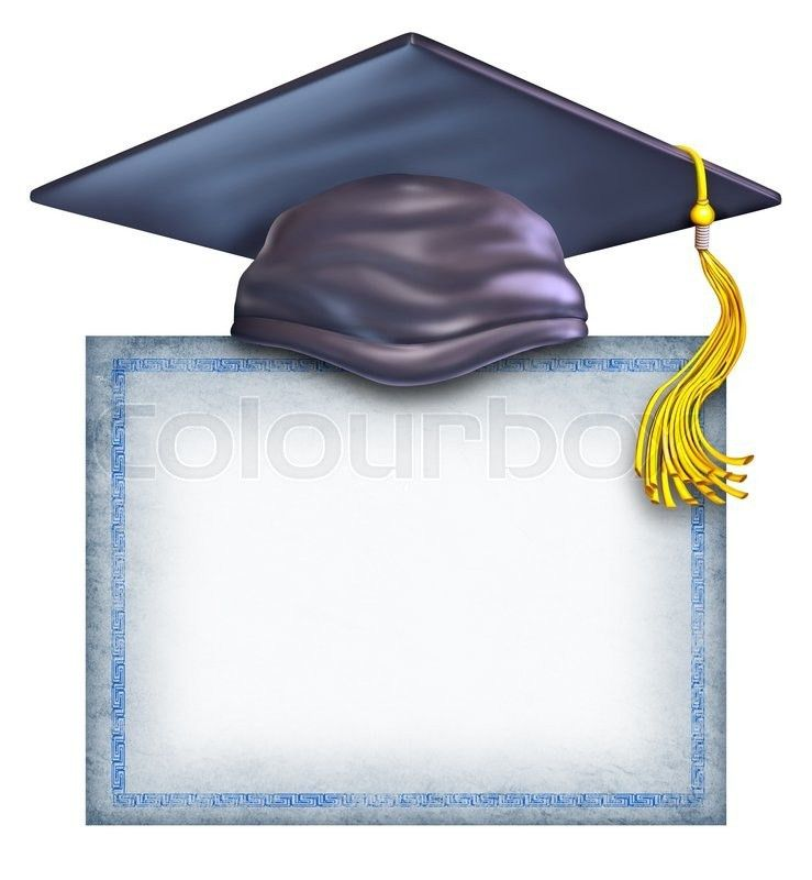 Graduation hat with a blank diploma isolated on a white background ...