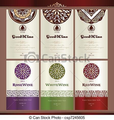 Clipart Vector of Collection of wine labels - Set of wine label ...