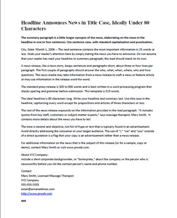 Free Press Release Template | Eric Brown, BodyworkBiz Blog