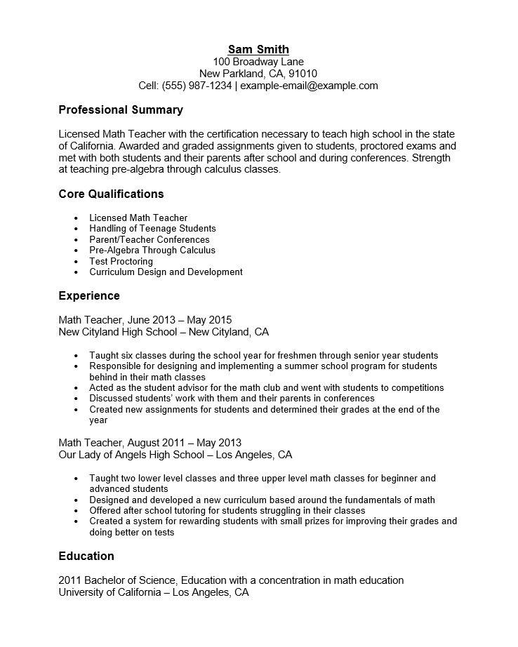 Free Math Teacher Resume Template | Sample | MS Word