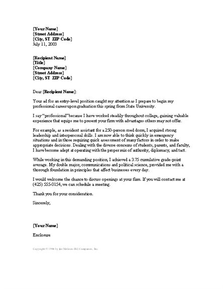 Cover Letter For Entry level Resume Cover Letters Templates within ...