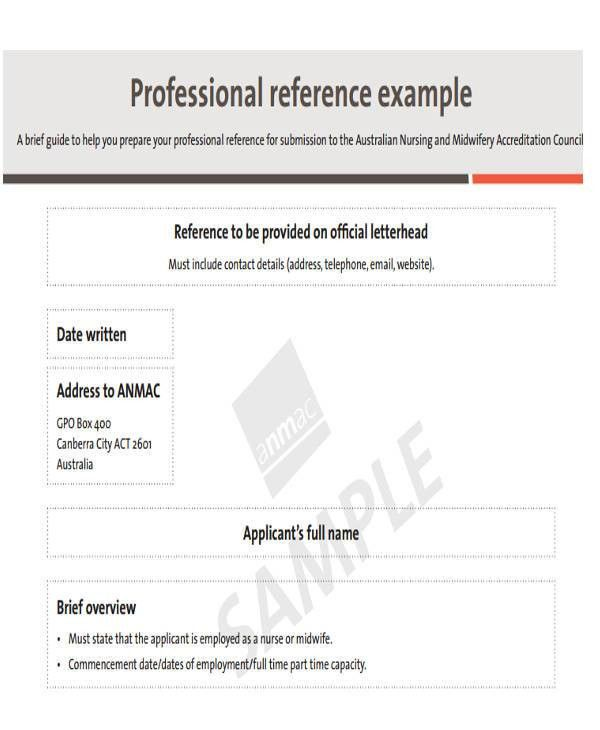 Examples of Reference Letters
