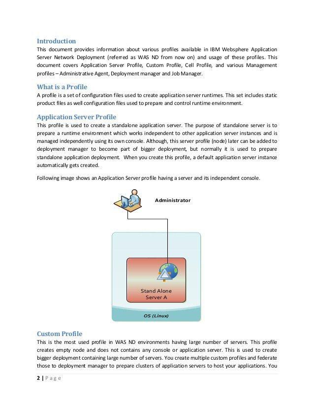 IBM websphere application server types of profiles