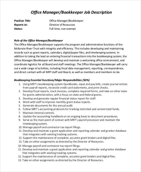 office manager sample job description 11 office manager job