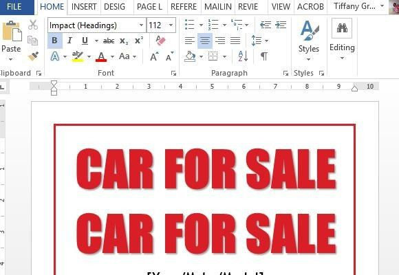 Car For Sale Sign Word Template