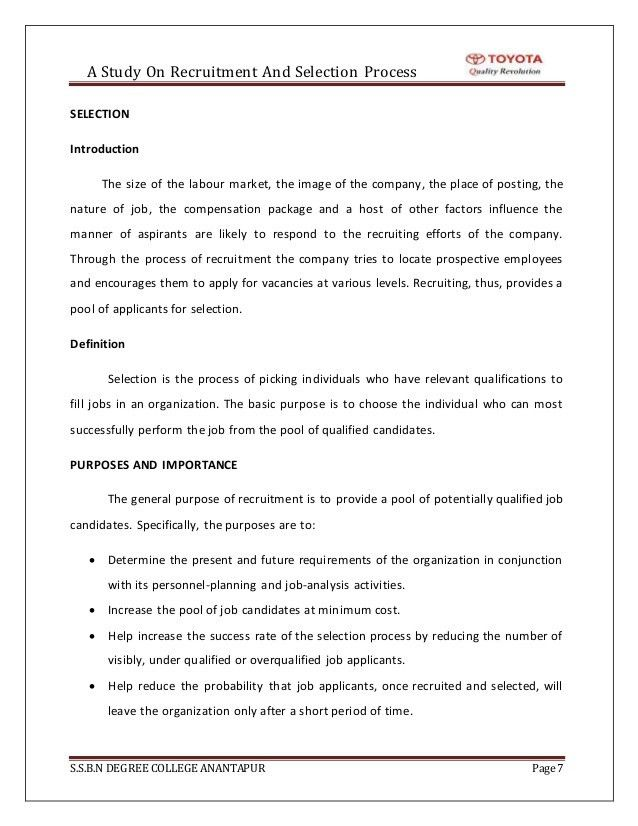 recruitment and selection process VIVA TOYOTA (project work)