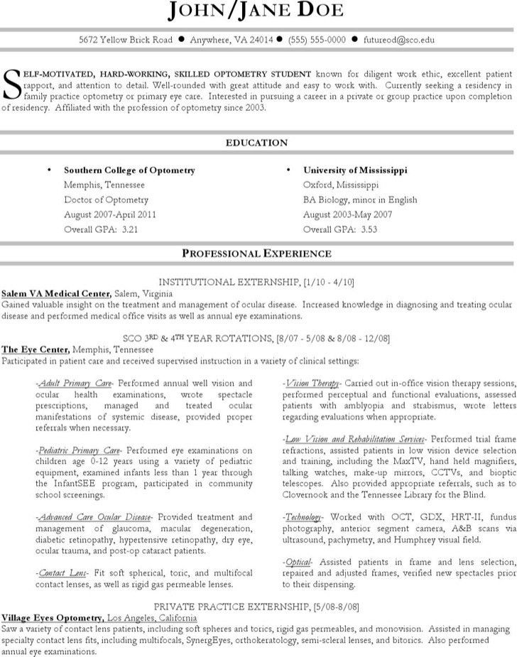 Optometrist Resume Templates | Download Free & Premium Templates ...