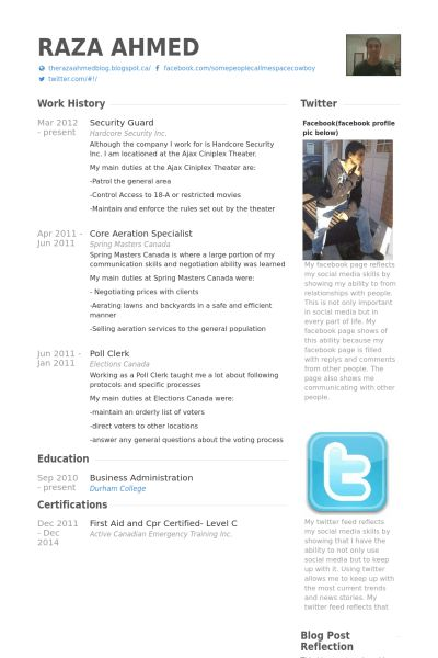 Security Guard Resume samples - VisualCV resume samples database