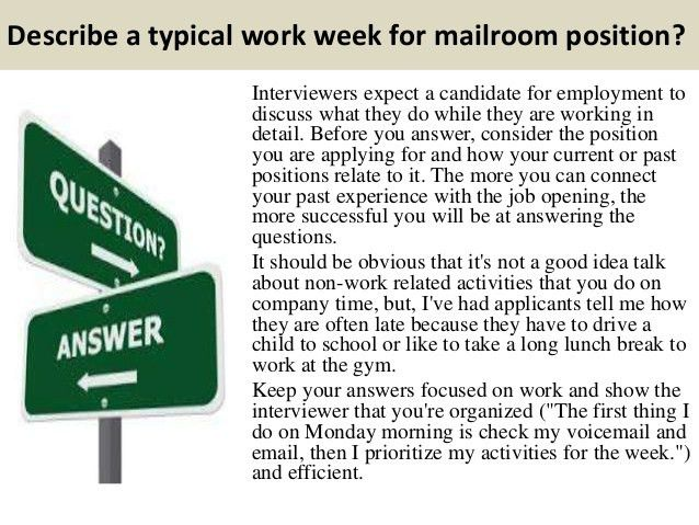 Top 10 mailroom interview questions and answers